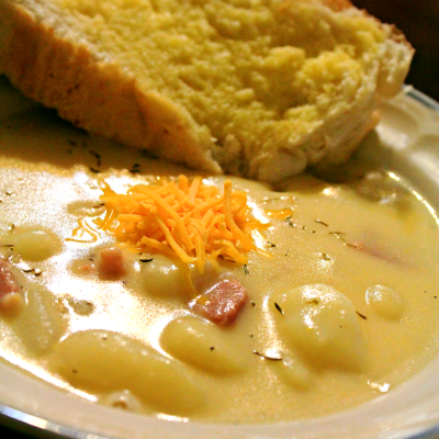 Creamy Potato Gnocchi and Ham Soup