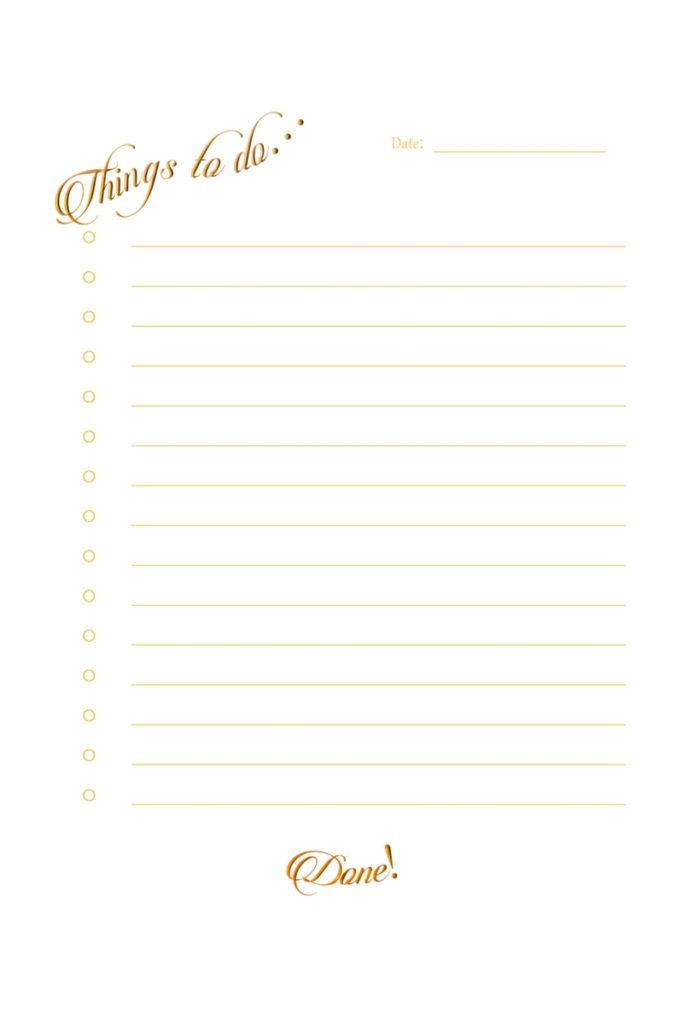 Free Printable Gold To-Do List