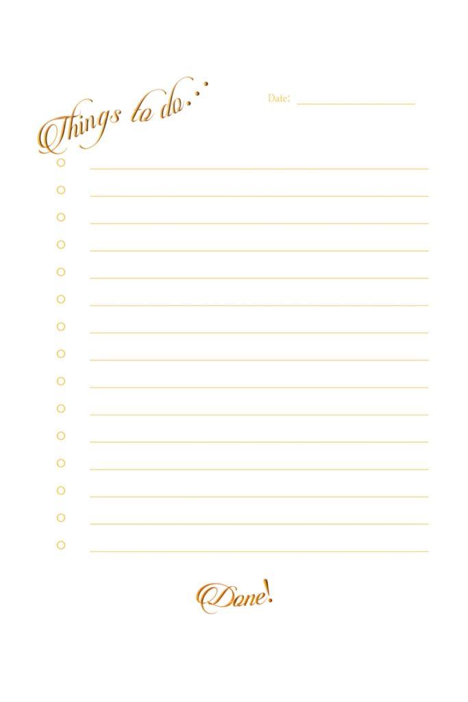 Free Printable Gold To-Do List