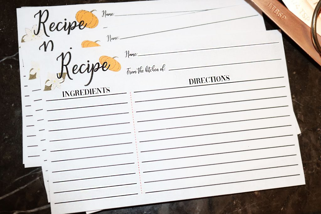 Free Printable Thanksgiving Recipe Cards