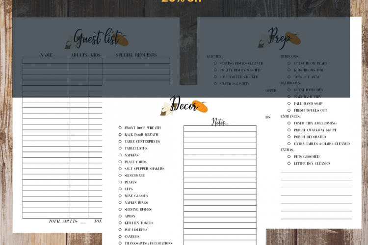 2018 Printable Thanksgiving Planner Sale