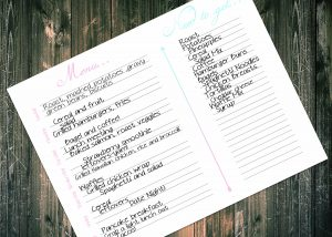 Free Printable Pink and blue menu planner