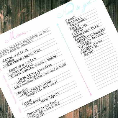 Pretty Little Menu Planner