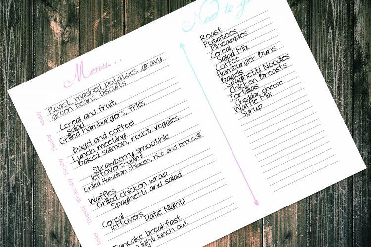 Free Printable Pink and blue menu planner