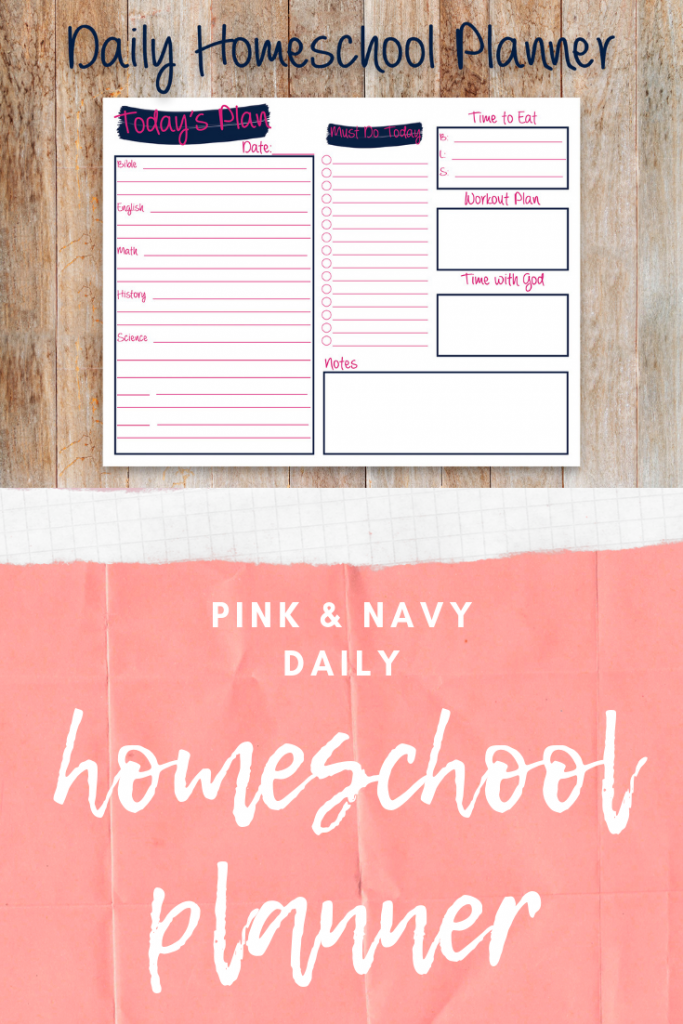 The cutest pink and navy printable homeschool planner ever!  Options for subjects and printable sizes.