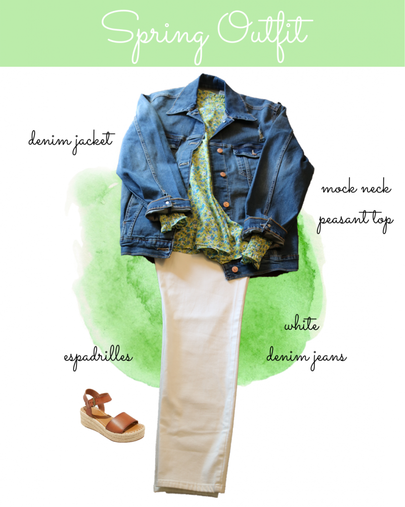 Cute spring outfit with denim jacket, green floral top and white jeans
