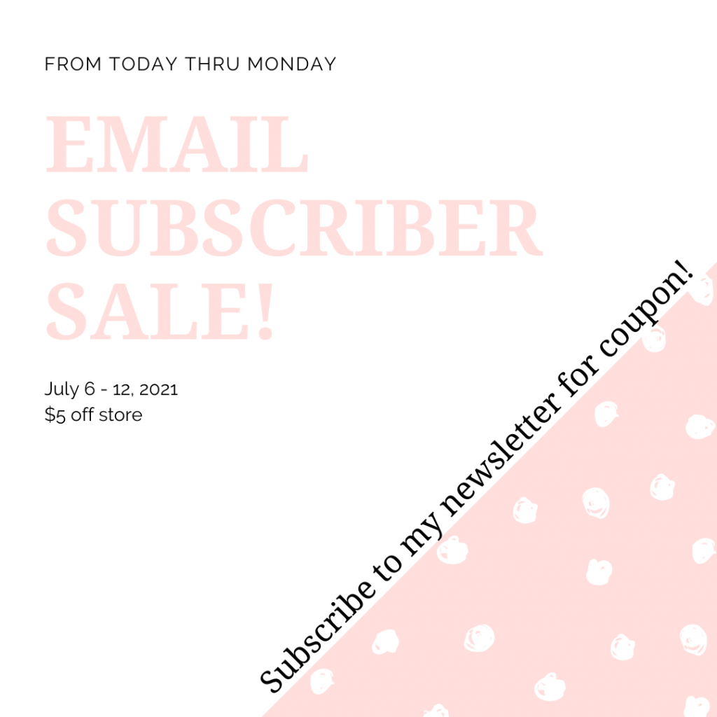 $5 Coupon for TeraBareDesigns if you subscribe to my newsletter