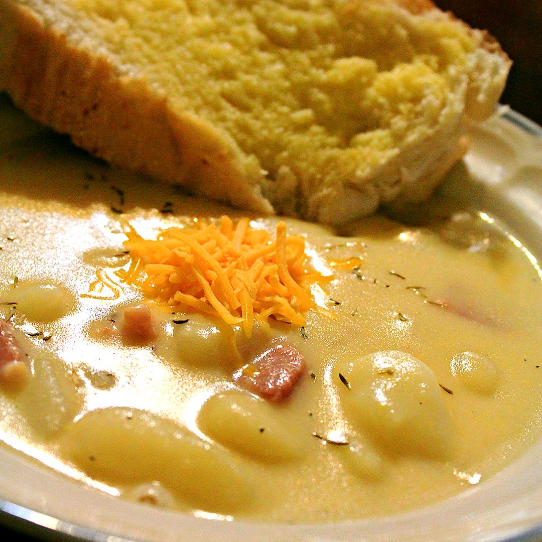 Creamy Potato Gnocchi and Ham Soup