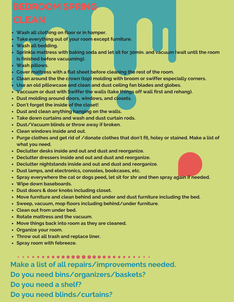 Bedroom Spring Cleaning Checklist For My Teens