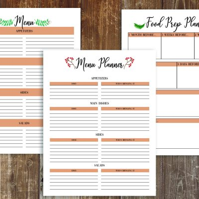 Woodland Thanksgiving Planner and Free Recipe Cards