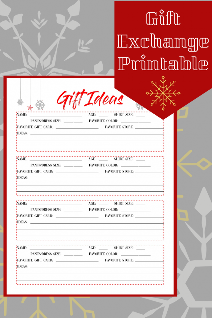 Free printable Gift Ideas page. Great for gift exchange and White Elephant.