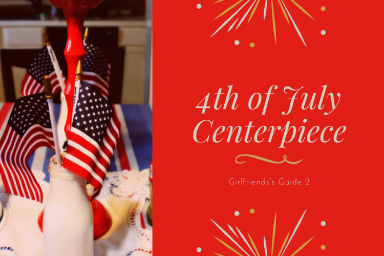 Simple and pretty Fourth of July Centerpiece. How I designed this pretty tablescape by shopping my own house and adding a few extra touches. #fourthofjuly #tablescape #centerpiece #4thofjuly