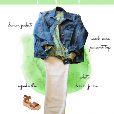 Green floral top and white jeans – Cute Spring outfit inspiration