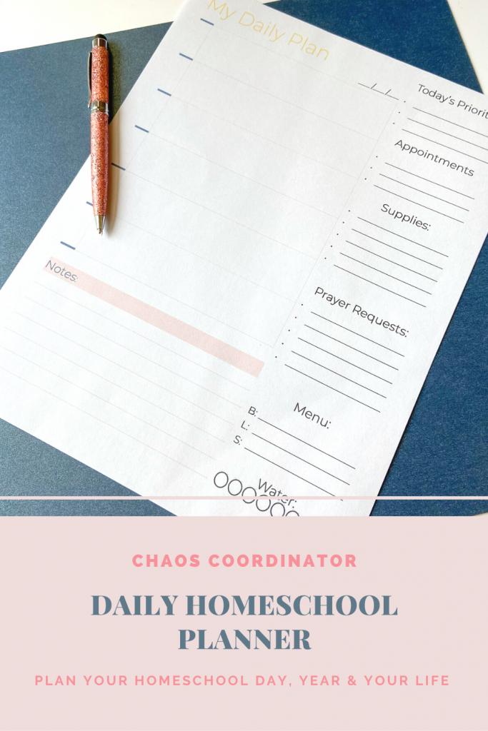 Chaos Coordinator Daily Homeschool Planner