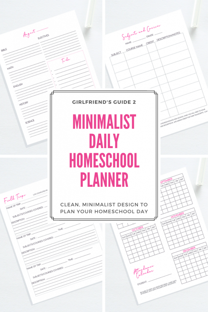 Minimalist Daily Homeschool Planner that includes everything you need to plan and organize your homeschool.
